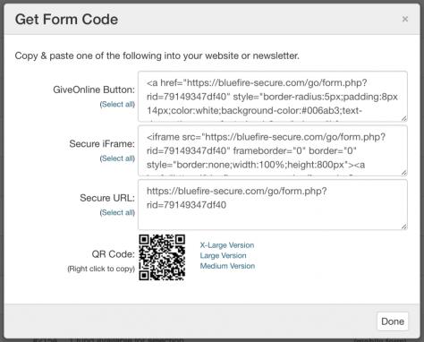 Get Form Code Modal