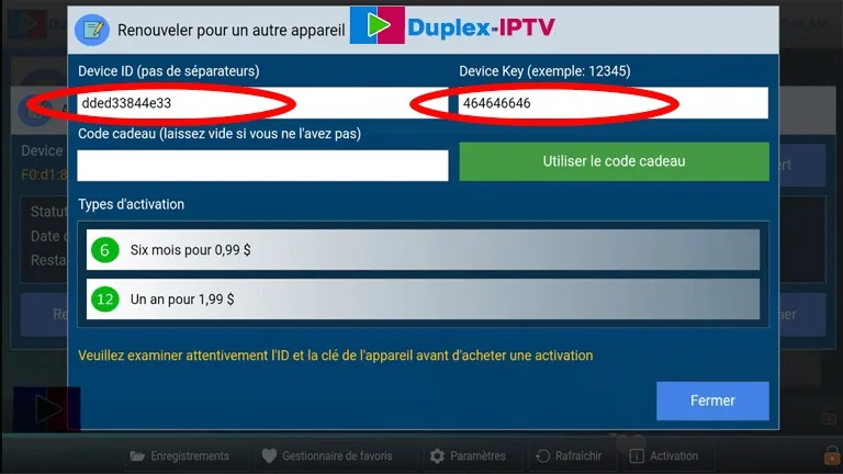 activation duplex iptv