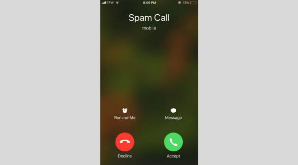 A screenshot of a spam call.