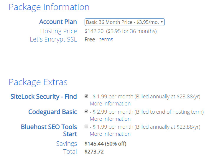 Screenshot of Bluehost's package information screen