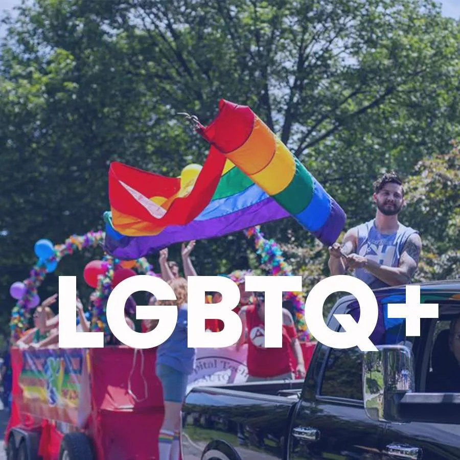 """A pride parade is shown with the super """"LGBTQ+"""" across the photo"""