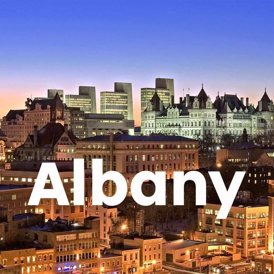 """Photo of Downtown Albany with a super across the photo that says """"Albany"""""""