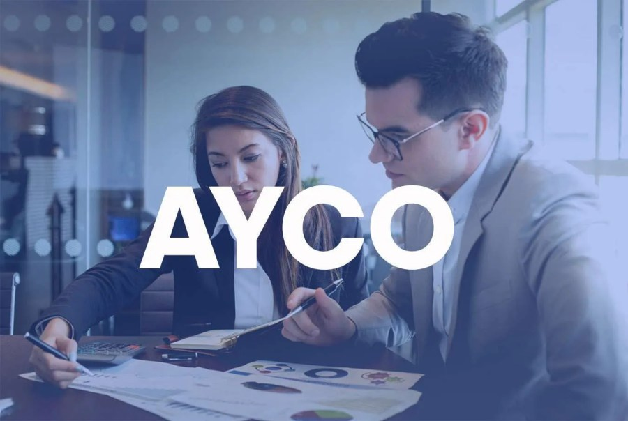 """Two businesspeople - a man & a woman - review a business plan with a super that reads """"Ayco"""" across."""