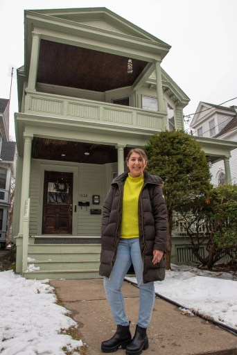 Gabby Fisher at her new home in Schenectady, NY