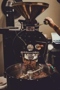 Coffee beans being prepared