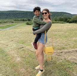 Gabby and her nephew at Indian Ladder farms