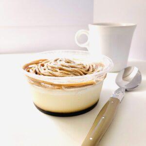 イタリア栗のモンブランプリンケーキとコーヒー