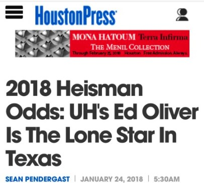 2018 Heisman Odds: UH's Ed Oliver is the Lone Star in Texas