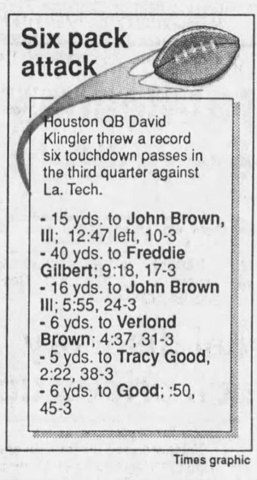 Klingler vs LaTech 1991 Shreveport Times 9-1-91 stats