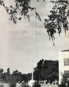 The Pearl C Bender flag pole was dedicated on campus in 1940.