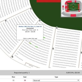 Lower level end zone seats along the sideline are cheaper
