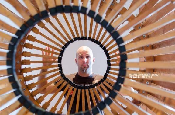 Interactive Art.  This Wheel is Built Entirely of Used Crutches