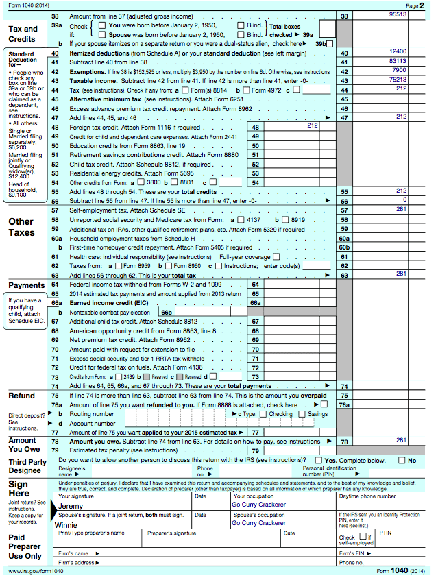 The Go Curry Cracker 2014 Taxes – Qualified Dividends Worksheet