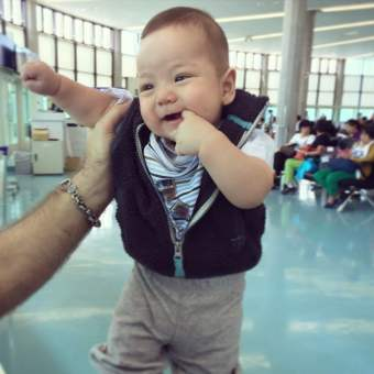 Happy for his 1st flight