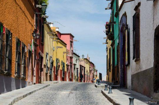 Cobblestone Street in San Miguel de Allende, Mexico
