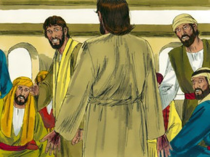 Jesus appears to his disciples. Copyright: Free Bible Images