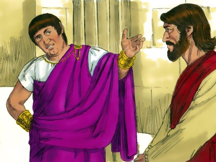 The high priest questioning Jesus. Copyright: Free Bible Images