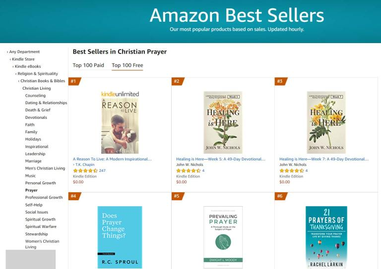 Top 2 Amazon Best Seller in Christian Prayer Free Category