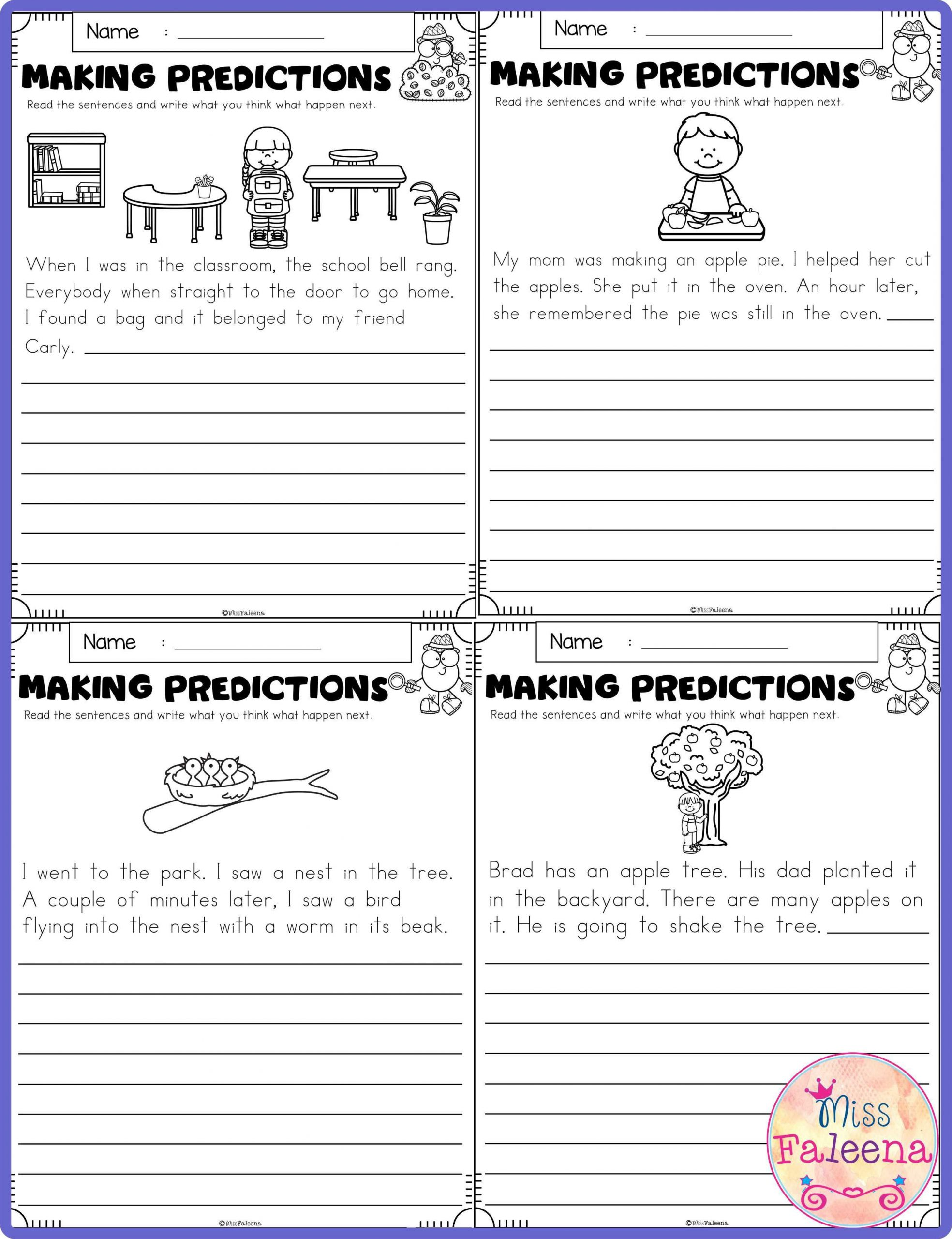 Making Predictions Worksheets 2nd Grade