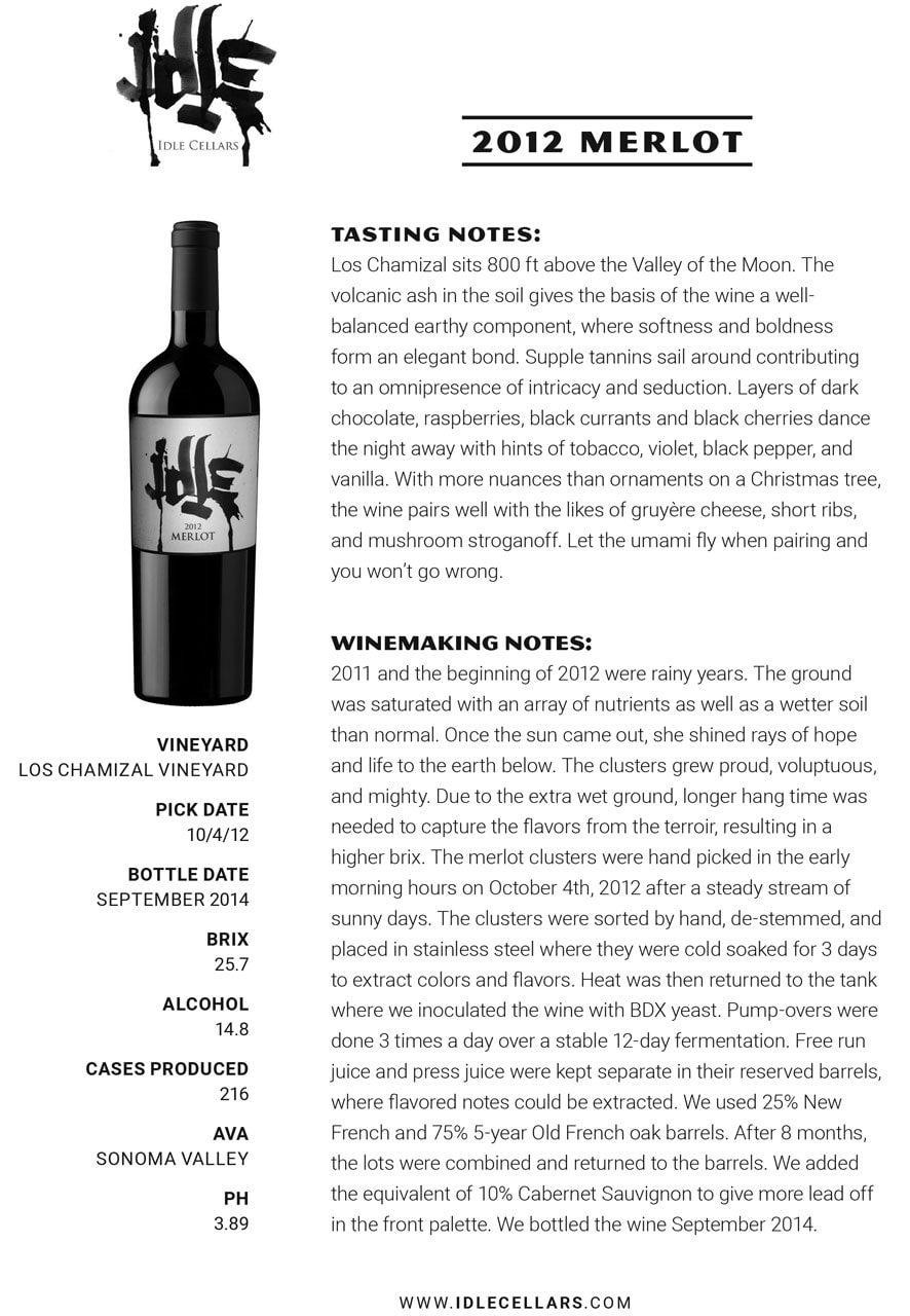 Idle Cellars tasting notes