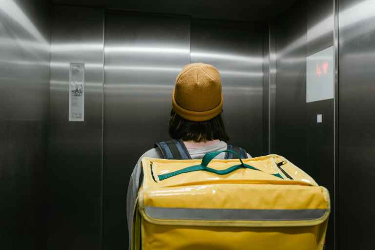person inside an elevator