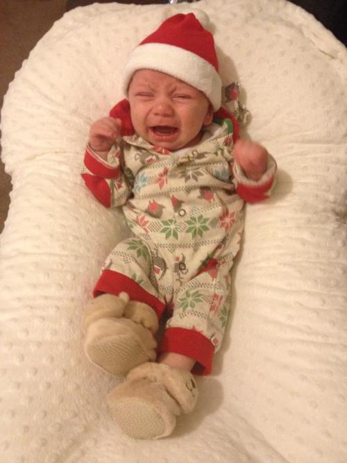 godberstravel, surviving Christmas with young children. screaming baby in Christmas outfit
