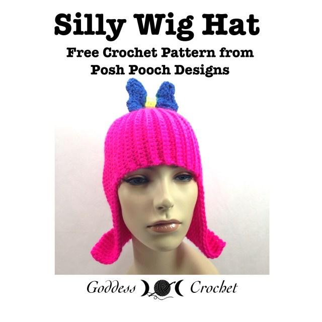 Crochet wig hat pattern, crochet pattern, free crochet pattern, posh pooch designs