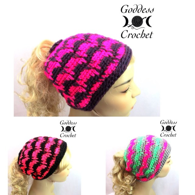 ponytail hat, pony tail hat, winter hat, ski hat, goddess crochet