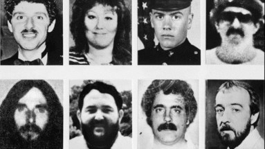 FILE--Eight victims believed to have been murdered by Charles Ng and his accomplice, Leonard Lake, are shown in these undated file photos. The trial in one of California's longest and costliest homicide cases started Monday, Oct. 26, 1998, more than 13 years after Charles Ng's arrest for shoplifting led to his prosecution for masss murder. Ng is charged with 12 murders dating back to 1984 amd 1985. From left to right, top row: Don Guiletti, Kathleen Allen, Michael Carroll, Robin Scott Stapley and bottom row: Randy Johnson, Charles Gunnar, Donald Lake and Paul Cosner. (AP Photo/File)