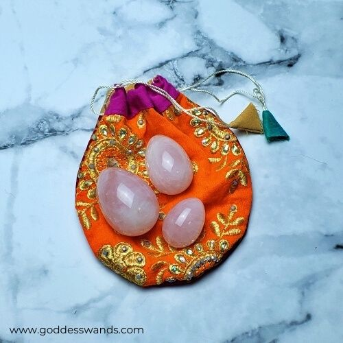 yoni egg set rose quartz trio from www.goddesswands.com