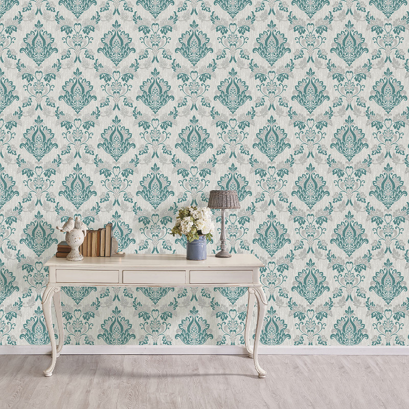 Vymura Senator Damask Glitter Wallpaper Teal And Silver