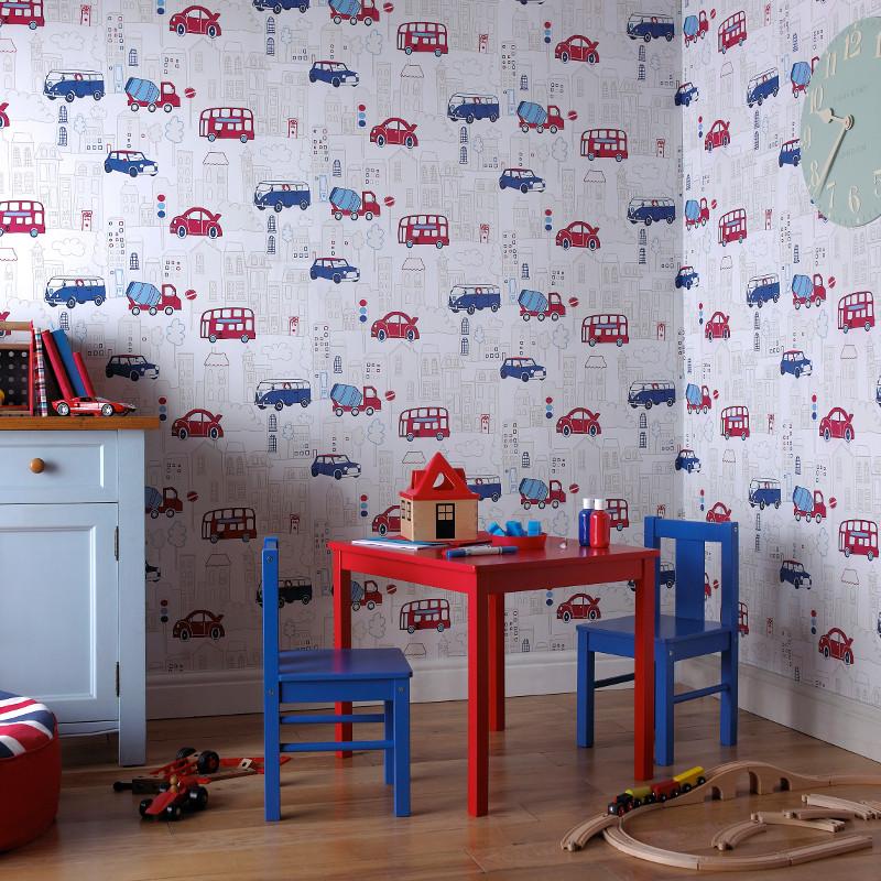 Arthouse Motor Mania Opera Fun Wallpaper Blue