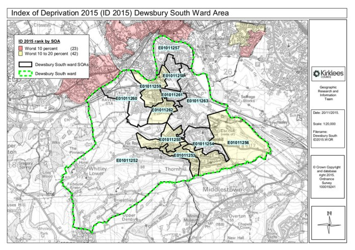 Map of deprivation in Dewsbury South ward