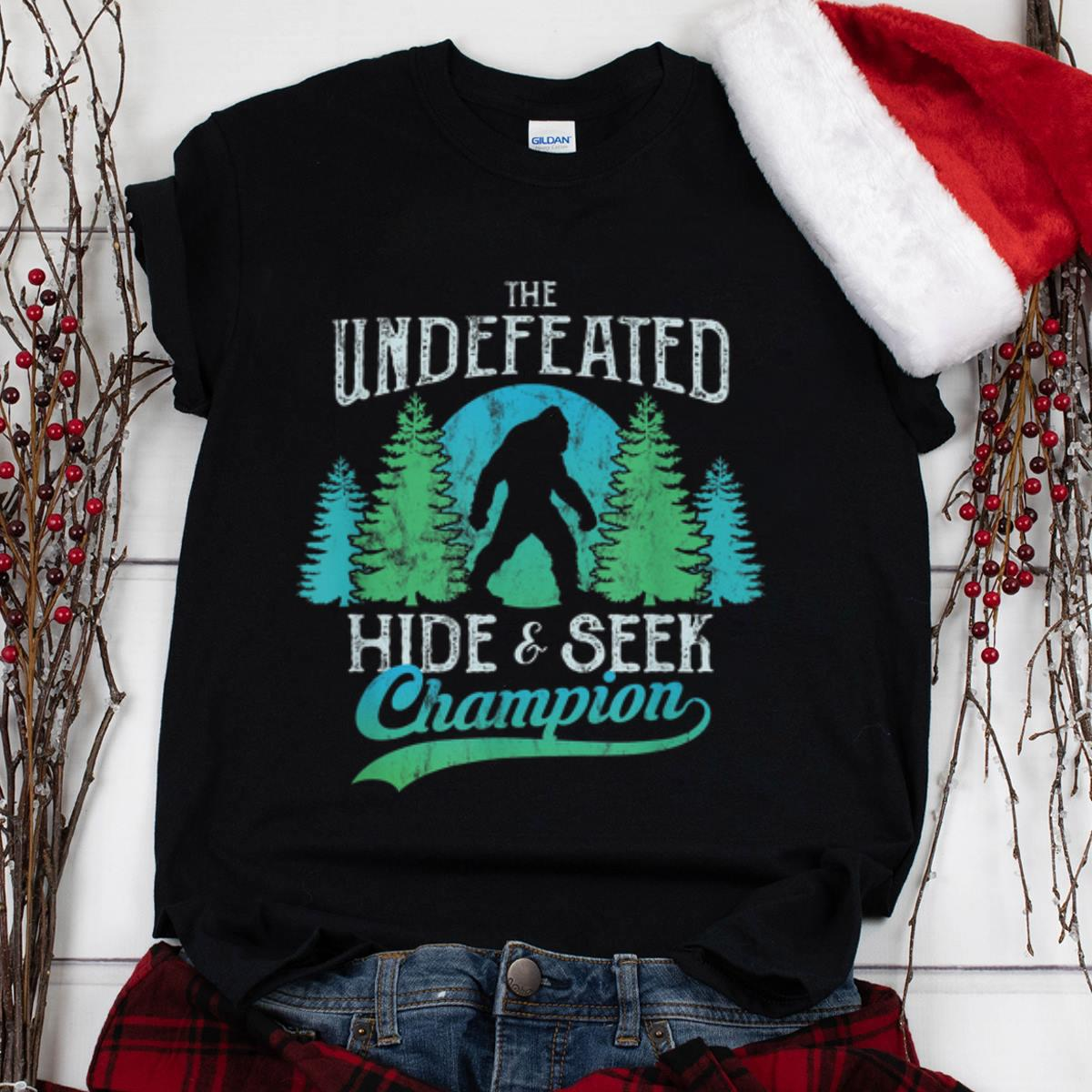 The Best Sasquatch Bigfoot Undefeated Hide Seek World Champion Blue Vintage Shirt