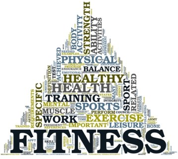 Fitness and health concept in tag cloud