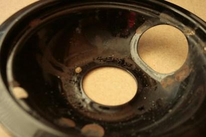 dirty burner drip pan