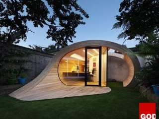 The concept behind a tiny garden pavilion in London, UK was simplified by the following equation: shed + office = Shoffice.