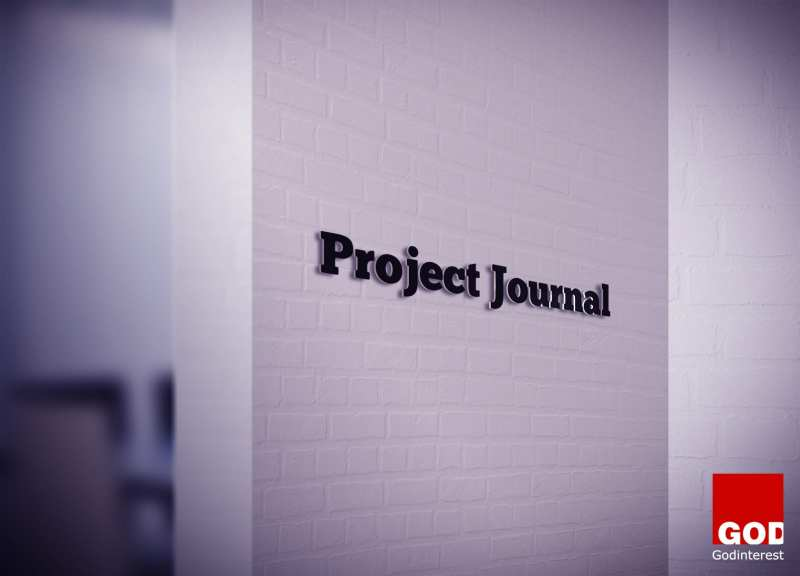 Project Journal 3D Logo On White Wall
