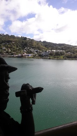 Enjoying a cigar in St. Lucia