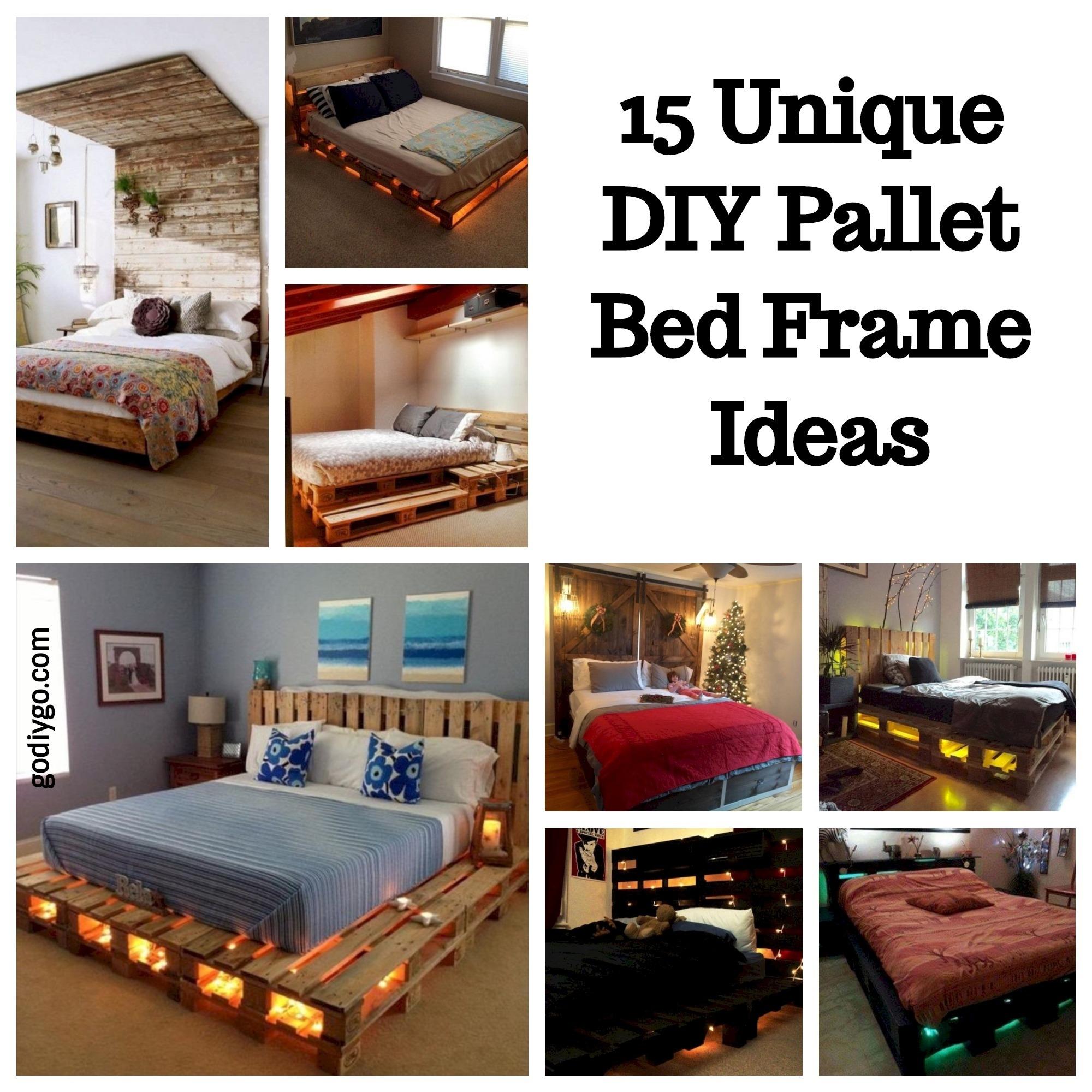 15 Unique DIY Pallet Bed Frame Ideas - GODIYGO.COM on Bedroom Pallet Ideas  id=78356