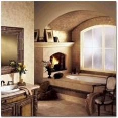 Astonishing and cozy bathrooms design ideas with fireplace 04