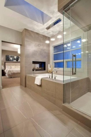 Astonishing and cozy bathrooms design ideas with fireplace 09