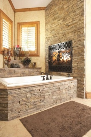 Astonishing and cozy bathrooms design ideas with fireplace 10