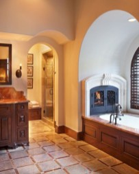 Astonishing and cozy bathrooms design ideas with fireplace 12