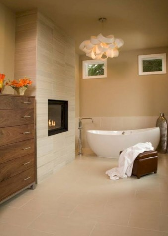Astonishing and cozy bathrooms design ideas with fireplace 23