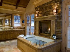 Astonishing and cozy bathrooms design ideas with fireplace 28