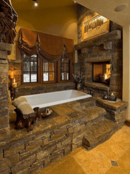 Astonishing and cozy bathrooms design ideas with fireplace 30