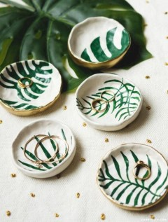 Creative diy dishes made from clay leaves 06