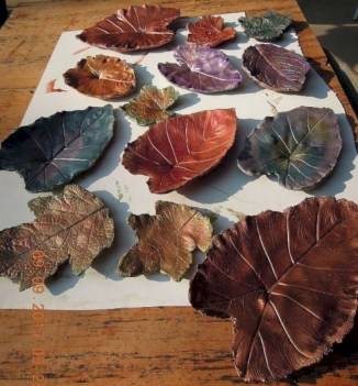 Creative diy dishes made from clay leaves 10