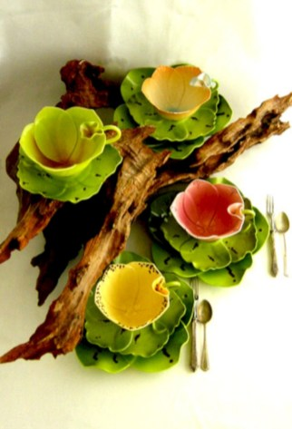 Creative diy dishes made from clay leaves 28